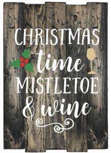 Christmas time, mistletoe and wine